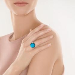 Кольцо из белого золота 585 пробы с бирюзой и бриллиантами