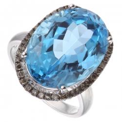 Кольцо из белого золота 585 пробы с бриллиантами и топазом