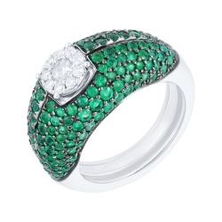 Кольцо из белого золота 585 пробы с бриллиантами и изумрудами