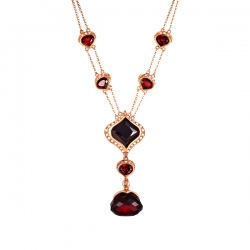 Колье из розового золота 585 пробы с бриллиантами и гранатами
