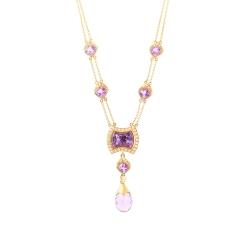 Колье из розового золота 585 пробы с аметистами и бриллиантами