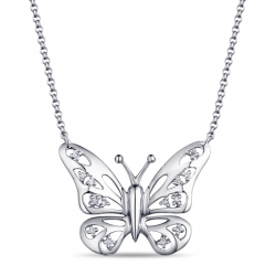 Золотое колье Бабочка c бриллиантами