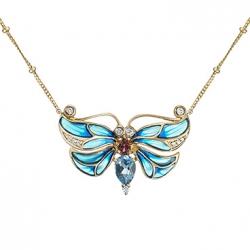 Колье «Бабочка» из желтого золота c топазами, бриллиантами, эмалью и турмалином
