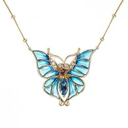 """Колье """"Бабочка"""" из желтого золота c топазом, бриллиантами, эмалью и турмалином"""