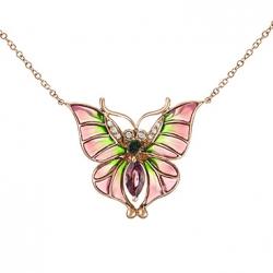 Золотое колье c бриллиантами, эмалью и турмалинами Весенние бабочки