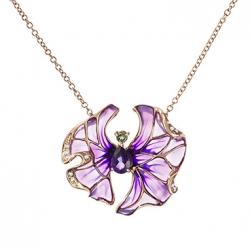 Золотое колье в виде цветка c аметистом, бриллиантами, эмалью и турмалином