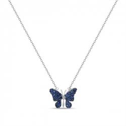 Колье Бабочка из белого золота c бриллиантами и сапфирами