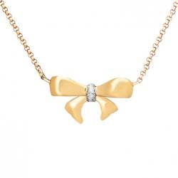 Золотое колье Бант c бриллиантом