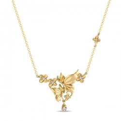 Золотое колье в виде бабочек c бриллиантами