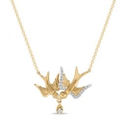 Золотое колье «Голуби» c бриллиантами