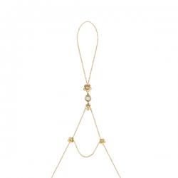 Кольцо-браслет из золота 585 пробы с кварцем и бриллиантами