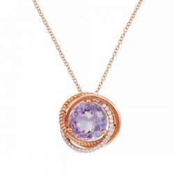Колье из розового золота 585 пробы с аметистом и бриллиантами