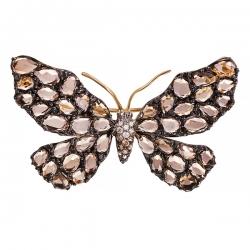 Брошь-подвеска Бабочка из золота 585 пробы с бриллиантами и раухтопазами