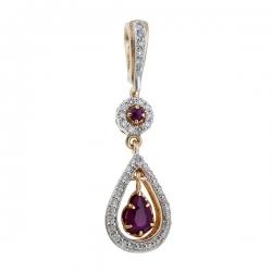 Золотая подвеска c бриллиантами и рубинами