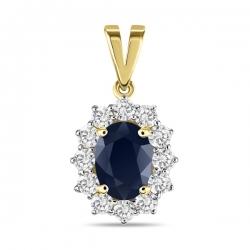 Золотая подвеска c бриллиантами и сапфиром