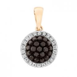 Золотая подвеска c черными бриллиантами