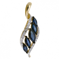 Золотая подвеска c бриллиантами и сапфирами