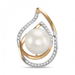 Золотая подвеска c бриллиантами и белым жемчугом