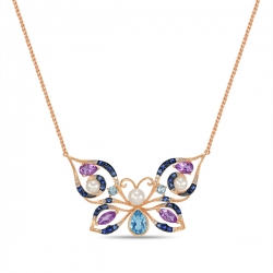 """Золотая подвеска """"Бабочка"""" c аметистами, топазами, бриллиантами, жемчугом и сапфирами"""