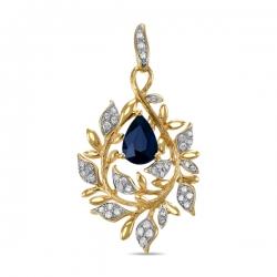 Золотая подвеска Листья c бриллиантами и сапфиром