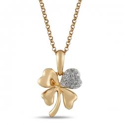 Золотая подвеска Клевер c бриллиантами Твоя удача