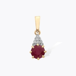 Подвеска из красного золота с бриллиантами, рубином