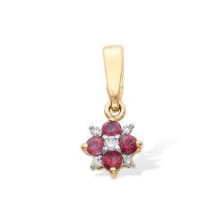 Подвеска из красного золота с бриллиантами, рубинами