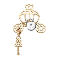 Подвеска Замок и ключ из красного золота с бриллиантом