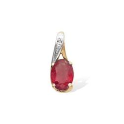 Подвеска из красного золота с рубином, бриллиантом