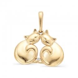 Подвеска Коты из красного золота с фианитом