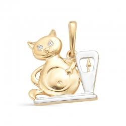 Подвеска в виде кота из красного золота с фианитами