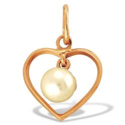 Подвеска Сердце из красного золота с жемчугом