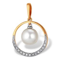 Подвеска из красного золота с белым жемчугом, бриллиантами