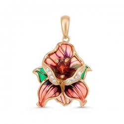Золотая подвеска в виде цветка c бриллиантами, эмалью и гранатом