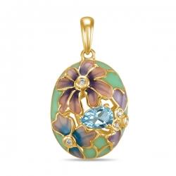Подвеска Цветы из желтого золота c топазом, бриллиантами и эмалью