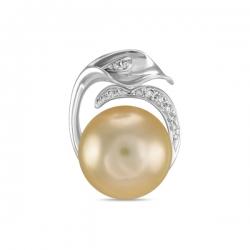 Золотая подвеска c бриллиантами и бежевым жемчугом