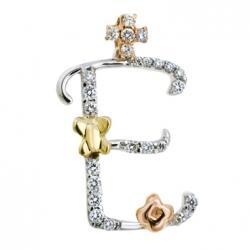 Подвеска из белого золота c бриллиантами Буква Е
