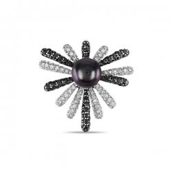 Подвеска Цветок из белого золота c бриллиантами и черным жемчугом Черные бриллианты