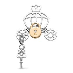 Подвеска Замок и ключ из белого золота с бриллиантом
