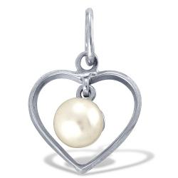Подвеска Сердце из белого золота с белым жемчугом