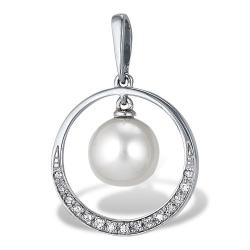 Подвеска из белого золота с белым жемчугом, бриллиантами