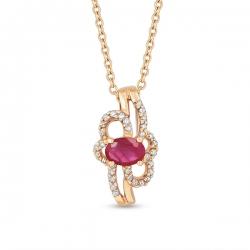 Золотая подвеска c бриллиантами и рубином