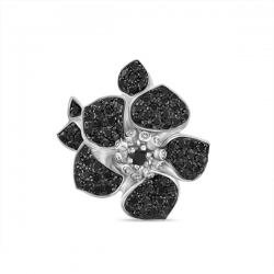 Подвеска Цветок из белого золота c черными бриллиантами