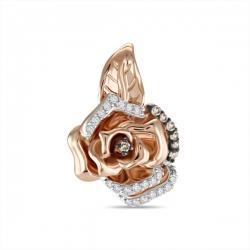 Золотая подвеска Роза c бриллиантами