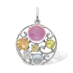 Подвеска из серебра с цветными камнями
