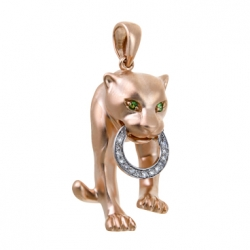 Золотая подвеска «Пантера» c бриллиантами и цаворитами