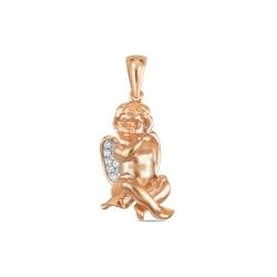 Золотая подвеска Амур c бриллиантами