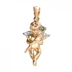 Золотая подвеска Ангел c топазом и бриллиантами