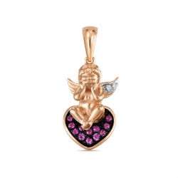 Золотая подвеска Ангел c бриллиантами и сапфирами