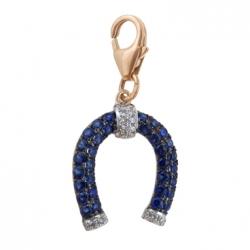 Золотая подвеска в виде подковы c бриллиантами и сапфирами Твоя удача
